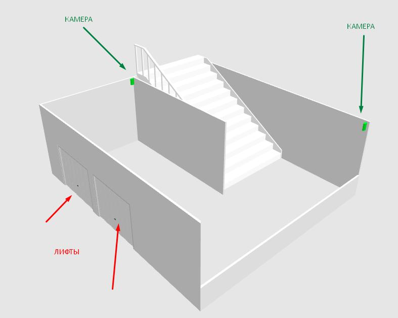проект расположения камер в холле подъезда
